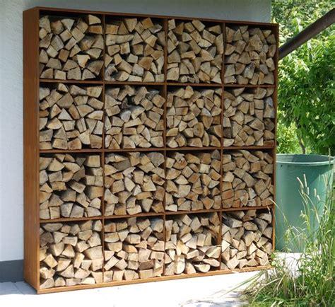feuerholz lagern corten steel rack to store wood kamin