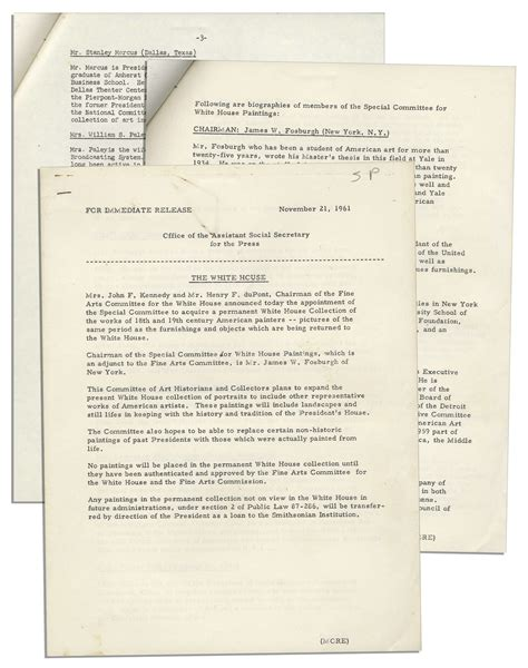 white house press release lot detail official jackie kennedy white house press release announcing the white