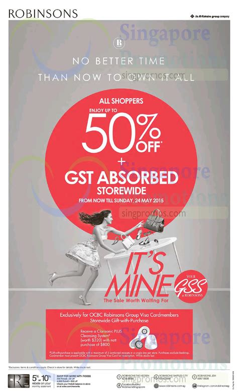 Robinsons May Gift Card - robinsons up to 50 off gst absorbed promotion 21 24 may 2015