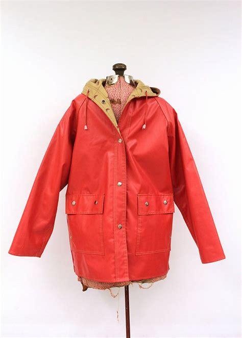 Vinyl Raincoat Pattern   vintage bright red rain slicker waterproof vinyl coat