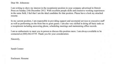 Front Desk With No Experience by Hotel Receptionist Cover Letter No Experience Cover