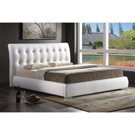 jeslyn white modern bed with tufted headboard king size