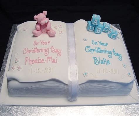 boy girl twins open book christening cake  darling christening cakes christening cake