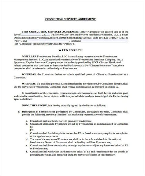 consulting agreement forms consulting agreement form sles 7 free sle
