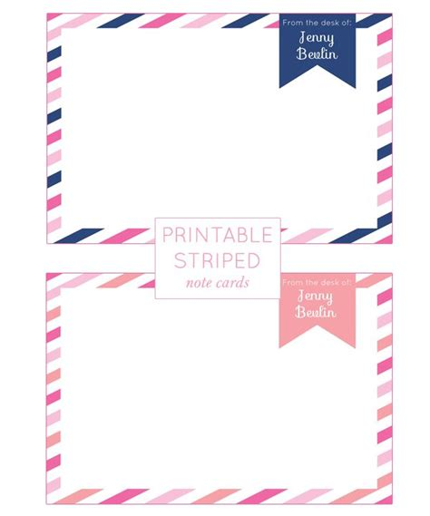 printable note cards customizable printable striped note cards free