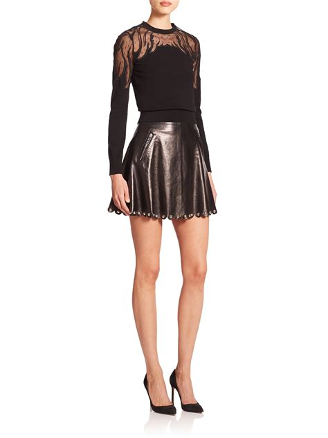 valentino studded leather skirt in black lyst
