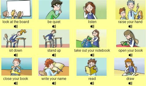 imagenes de ingles raise your hand commands learn english with dedication