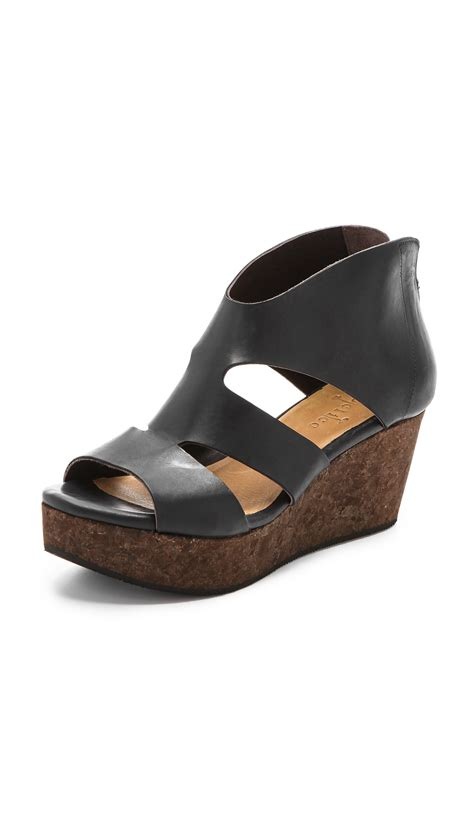 coclico sandals coclico megumi cork wedge sandals in black black ramis