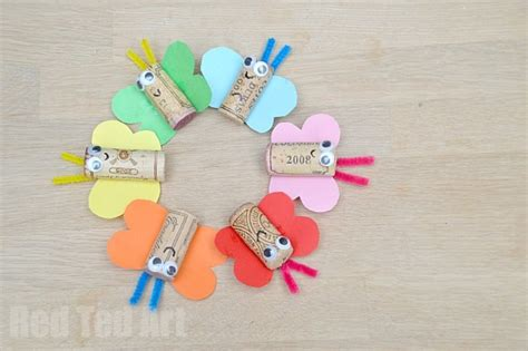 Handcraft For - lovely diy rainbow butterfly cork craft to try with