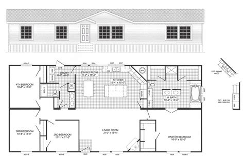 Two Bedroom Ranch House Plans 4 bedroom floor plan b 6012 hawks homes manufactured