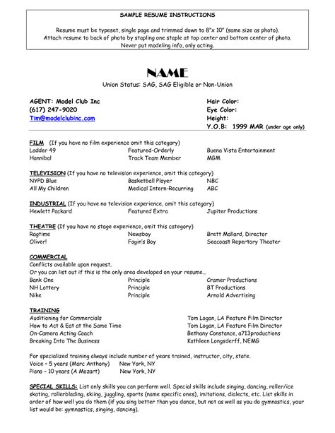 Resume For Actors by Resume For Child Actor Scope Of Work Template Special