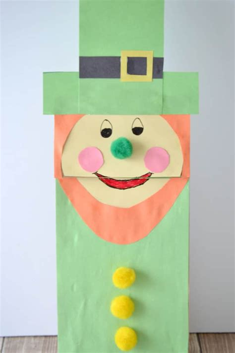 How To Make A Paper Bag Puppet Of A Person - leprechaun paper bag puppet for st s day