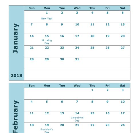 2018 calendar monthly template 2018 monthly calendar printable 12 month templates web