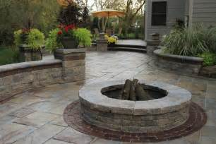 Fire Pit With Bricks - unilock fire pit patio stoop amp stair wall