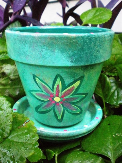 Handmade Pot Painting - wedding favors painted flower pots in custom colors
