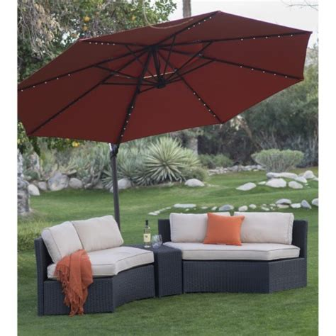 11 lighted patio umbrella coral coast 11 ft steel lighted offset olefin patio