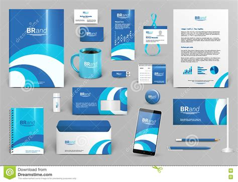 Blue And White Corporate Identity With Wave Stock Vector Image 71477981 Branding Kit Template