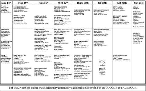 printable version of website tillicoultry community week week at a glance