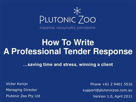 how to write a professional tender response
