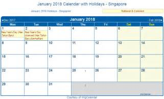 Calendar 2018 Singapore With Holidays Print Friendly January 2018 Singapore Calendar For Printing