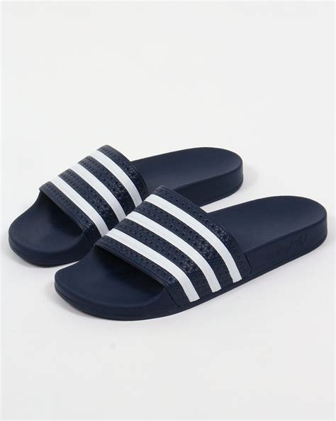 adidas sandals adidas adilette slides navy white sandals pool mens