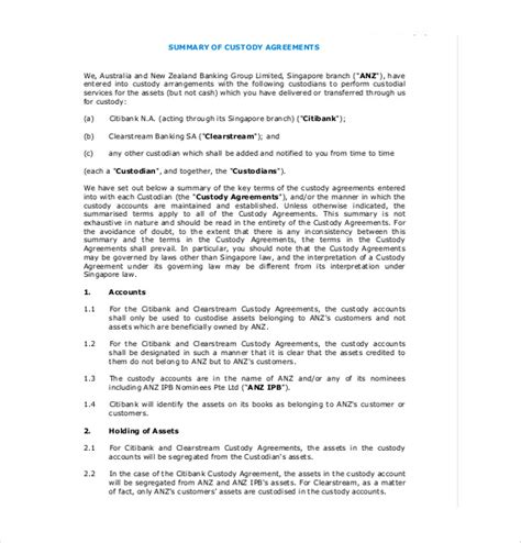 template of custody agreement 10 custody agreement templates free sle exle