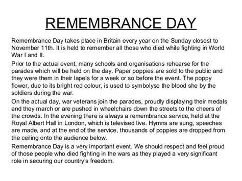 Remembrance Day Essays by A Description Of A Festival
