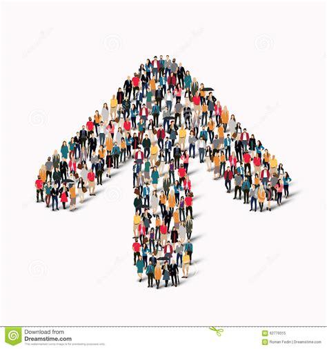 crowd people shape arrow direction stock vector image