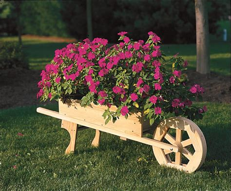 Wheelbarrow Planter by Amish Wooden Wheelbarrow Planter