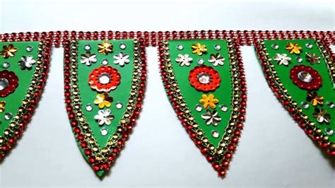 Toran With Paper - how to make paper toran bandhanwar door hanging home