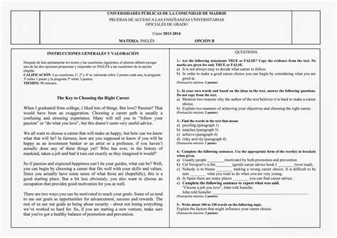 examen es de ingles ex 225 menes de ingl 233 s de selectividad pau madrid 2014 junio