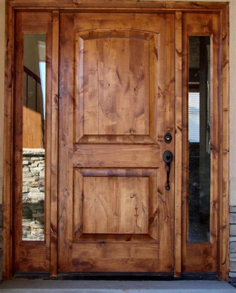 Tuscany Design Knotty Alder Front Entry Solid Wood Door Exterior Wood Doors With Sidelights