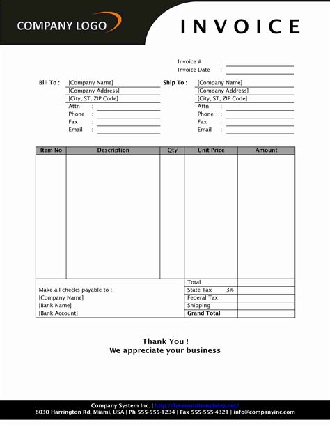 sample invoice for photography services