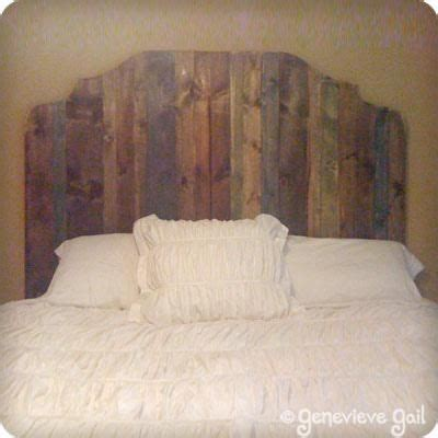 pictures of homemade headboards use different stains on the headboard slats for interest