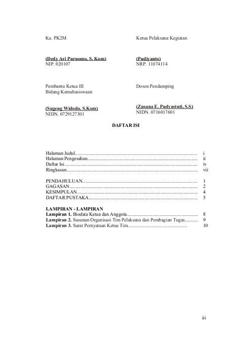 format daftar isi proposal contoh format proposal pkm gt