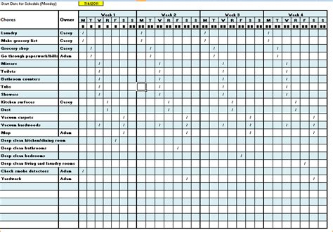 Cleaning Schedule Template Cyberuse Monthly Cleaning Schedule Template Excel
