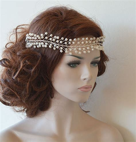 wedding hair accessories pearl wedding headband bridal pearl hair vine bridal headband