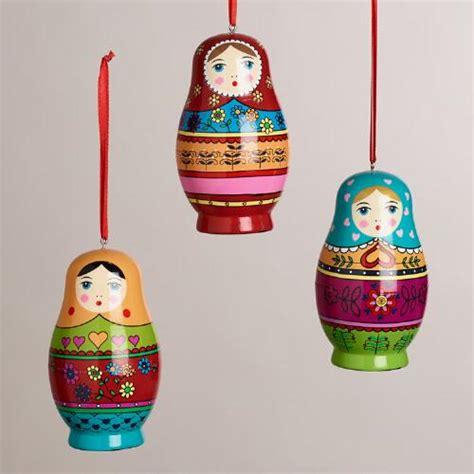 wooden russian doll ornaments set of 3 world market