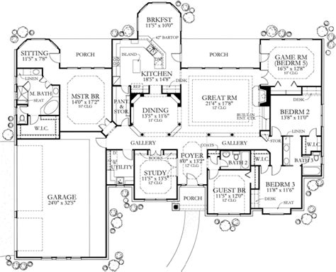 5 bedroom floor plans country home plan four bedrooms plan 136 1002