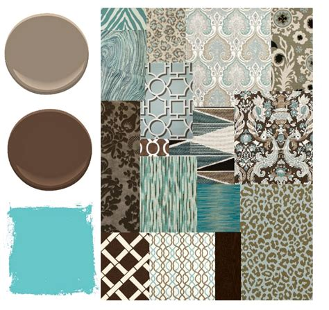 blue brown and aqua color palette places in the home