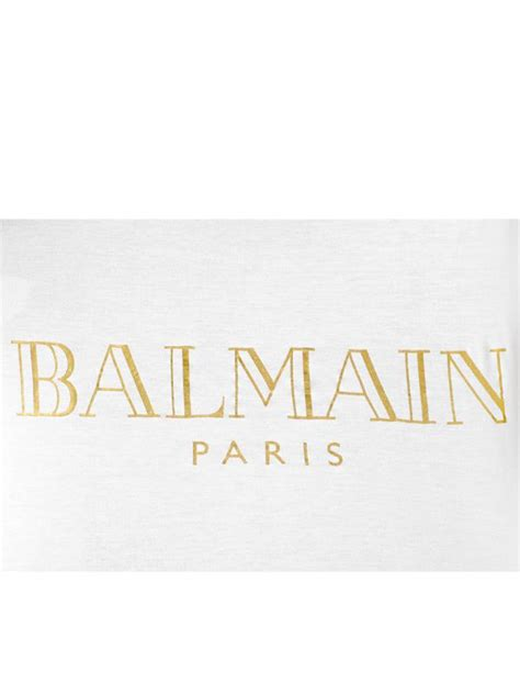Got Not One But Two White Versace Snap Out Of It Bags by Balmain Logo Printed Cotton T Shirt In White Lyst