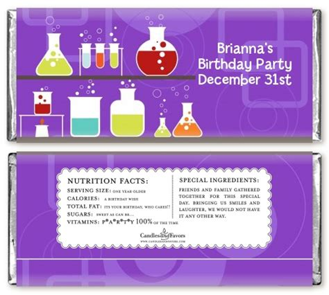 Scientific Happy Birthday Wishes Science Lab Birthday Party Candy Bar Wrappers Candles