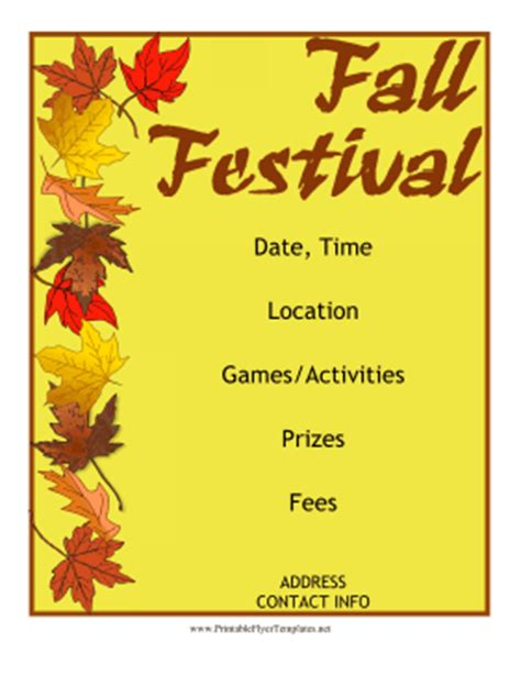 fall festival flyer templates free fall festival flyer