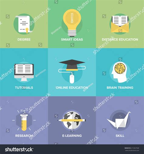 game design education and training royalty free flat icons set of online learning
