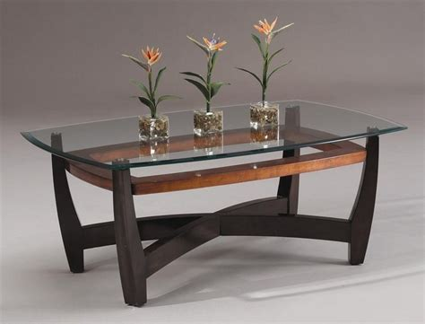 rectangular cocktail table w wood base beveled glass top