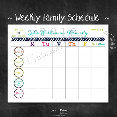 Printable Calendar Custom Dates | personalized weekly family schedule 2016 by tintsandprints
