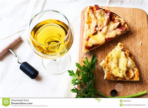 white wine and pizza stock photo image 49815642