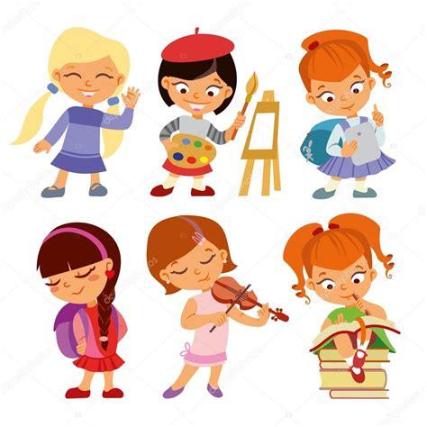 imagenes de niños felices cute cartoon pupils girls stock vector 169 funnyclay