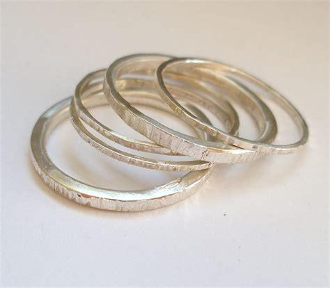 Handmade Stackable Rings - silver handmade stacking rings felt