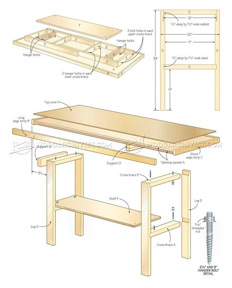 bench blueprints simple workbench plans woodarchivist